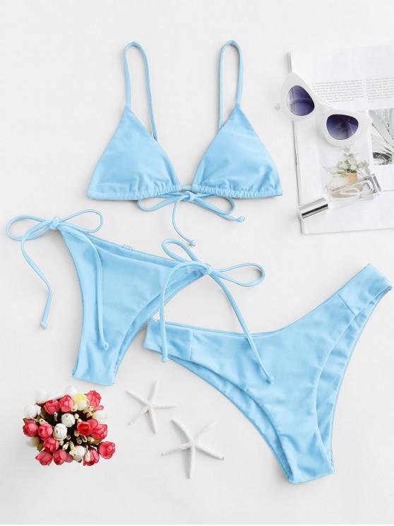 shops ZAFUL Padded Cami Three Pieces Bikini Swimsuit - DAY SKY BLUE S