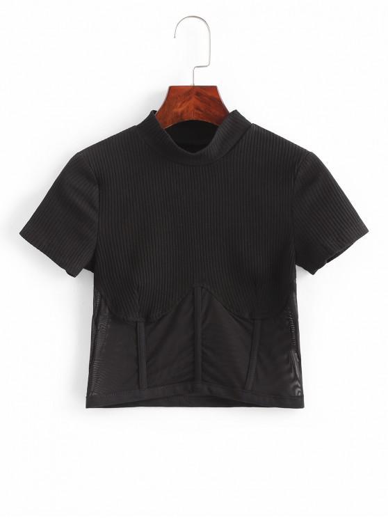 best Ribbed Mesh Panel Crop Top - BLACK L
