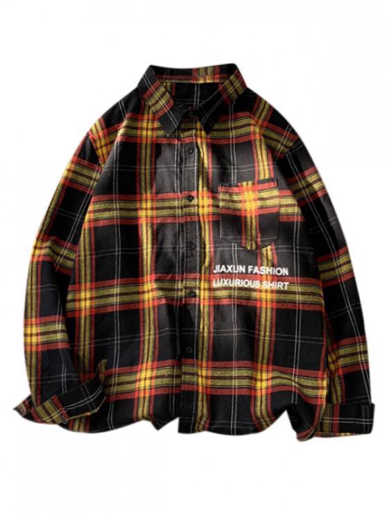 Camisa a Cuadros de Parche Bolsillo y Botón - Negro M