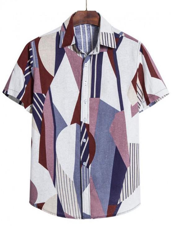 outfits Geometric Stripes Print Short Sleeve Shirt - PLATINUM 4XL