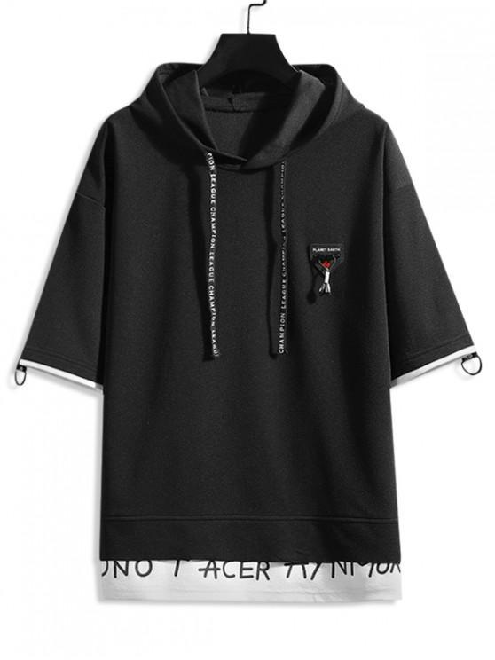 Faux Twinset Drop Shoulder Hooded T-shirt - أسود L