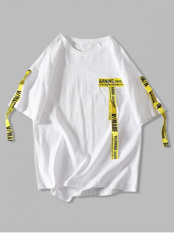online Letter Ribbon High Low T-shirt - WHITE 3XL