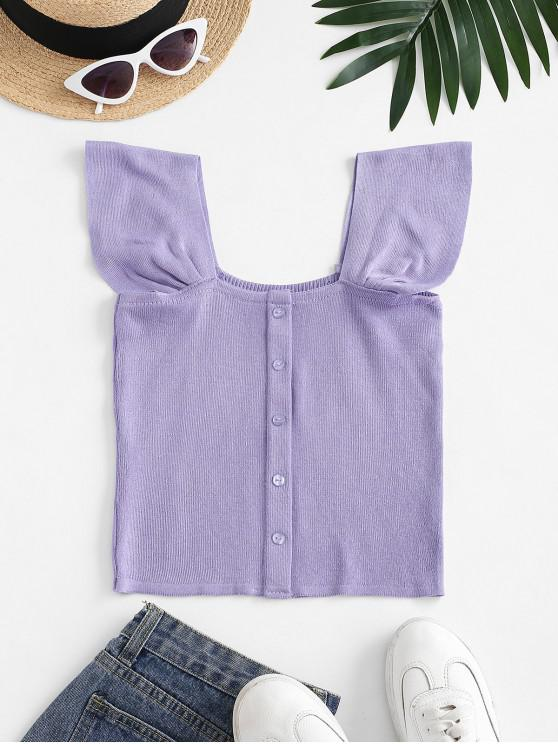 lady Square Neck Knitted Crop Tank Top - PURPLE ONE SIZE