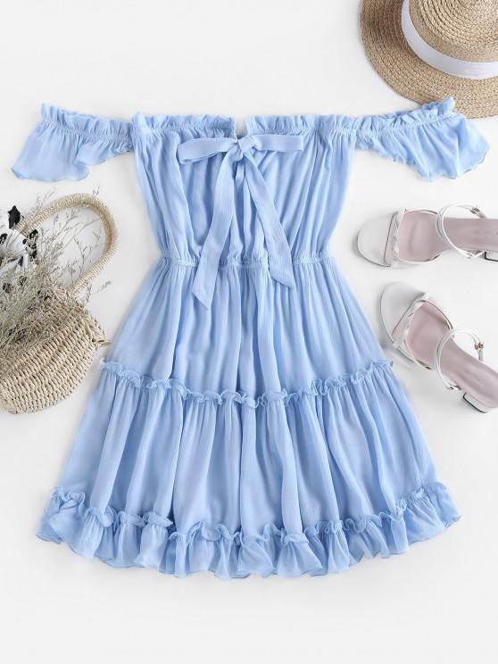 ladies ZAFUL Off Shoulder Bowknot Ruffle Dress - LIGHT BLUE M