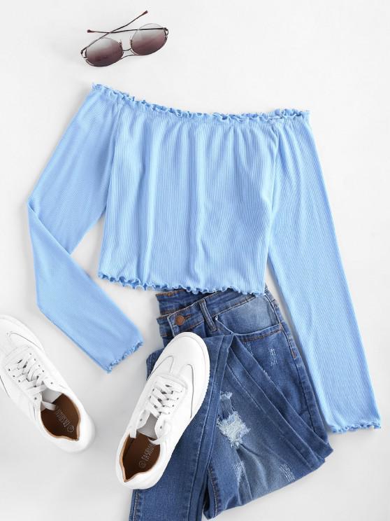 shops ZAFUL Ribbed Off Shoulder Lettuce Trim T-shirt - DAY SKY BLUE L