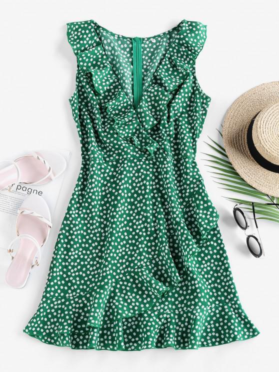 sale ZAFUL Ditsy Print Ruffle Plunging Vacation Dress - SEA TURTLE GREEN M