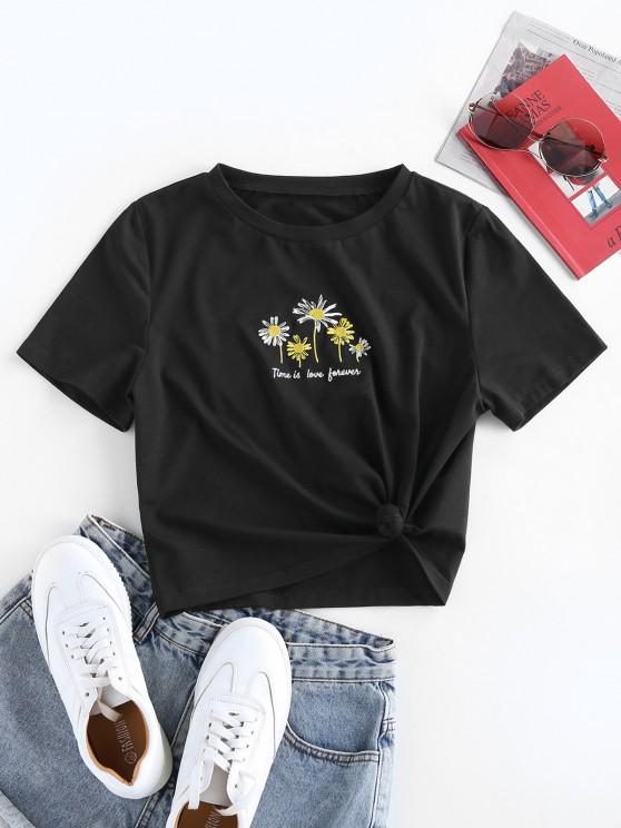 sale ZAFUL Daisy Embroidered Knotted Basic Tee - BLACK L