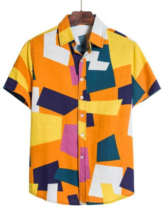 fashion Colorblock Geometric Print Button Down Shirt - BEE YELLOW XL