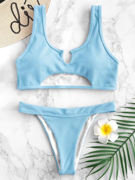 lady ZAFUL Ribbed Cutout Bikini Set - LIGHT SKY BLUE L