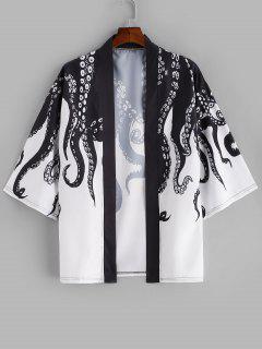 Open Front Octopus Print Beach Kimono Cardigan - Black M