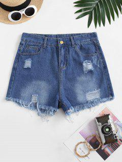 Frayed Hem Ripped Pocket Denim Shorts - Deep Blue M