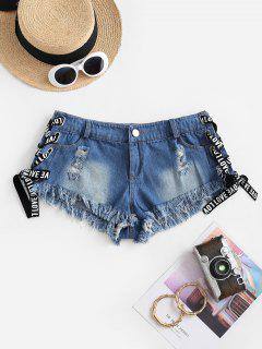 Frayed Lace Up Ripped Mini Denim Shorts - Blue S