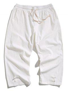 Solid Color Drawstring Cropped Pants - White 2xl