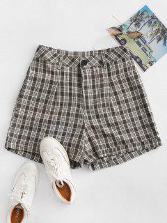 Cuffed Plaid Shorts - Deep Brown L