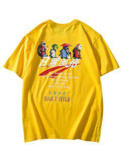 Daily Style Cartoon Graphic Print Basic T-shirt - Yellow L