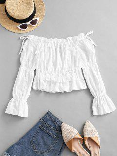 Off Shoulder Embroidery Ruffle Poet Sleeve Blouse - White S