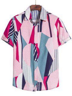 Geometric Stripes Print Short Sleeve Shirt - Light Pink L