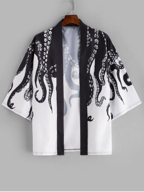 Kragenlose Strand Kimono mit Offener Vorderseite - Schwarz S Mobile