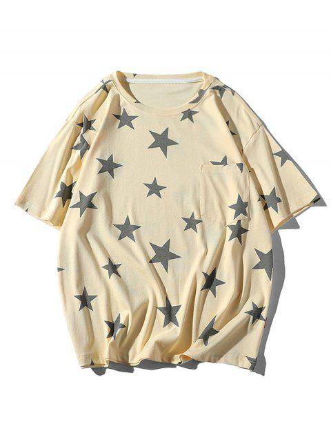 Star Print Casual Short Sleeves T-shirt - بلانشيد اللوز 3XL Mobile