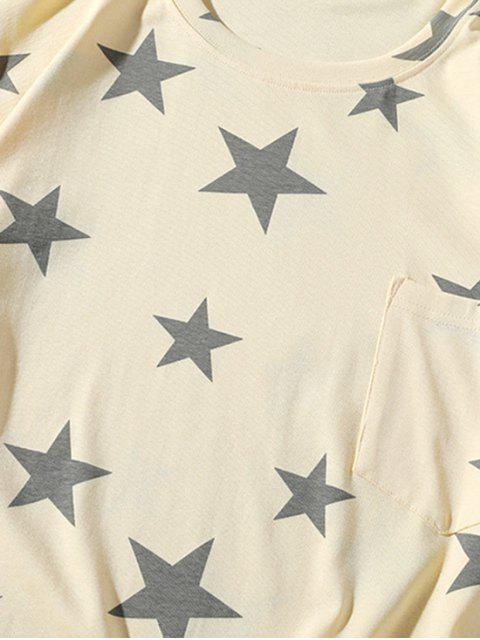 best Star Print Casual Short Sleeves T-shirt - BLANCHED ALMOND 3XL Mobile