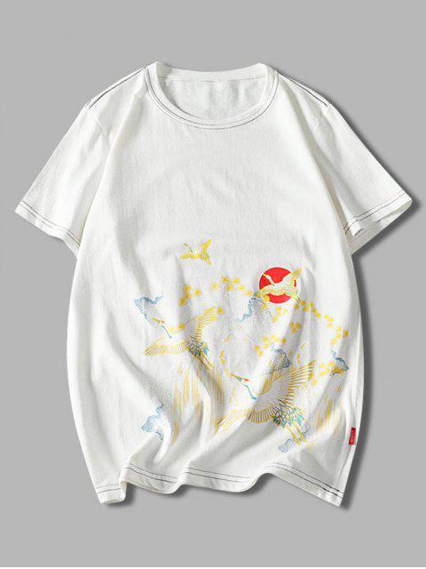 chic Animal Sun Print Short Sleeves T-shirt - WHITE XS Mobile