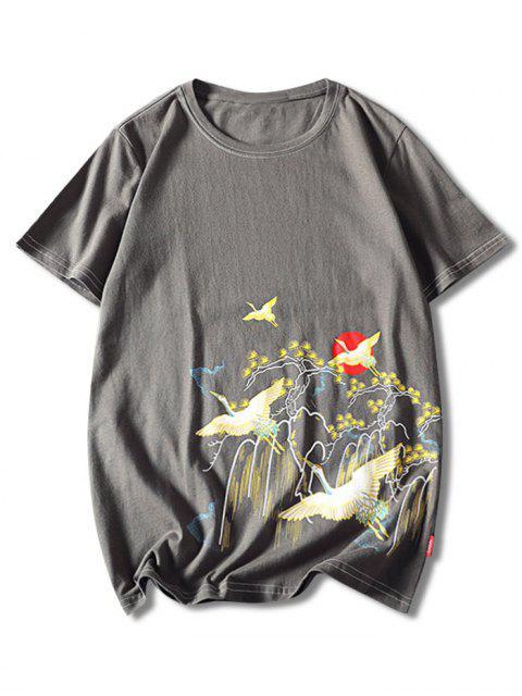 Tierkatzendruck T-Shirt mit Kurzen Ärmeln - Schlachtschiff Grau XL Mobile