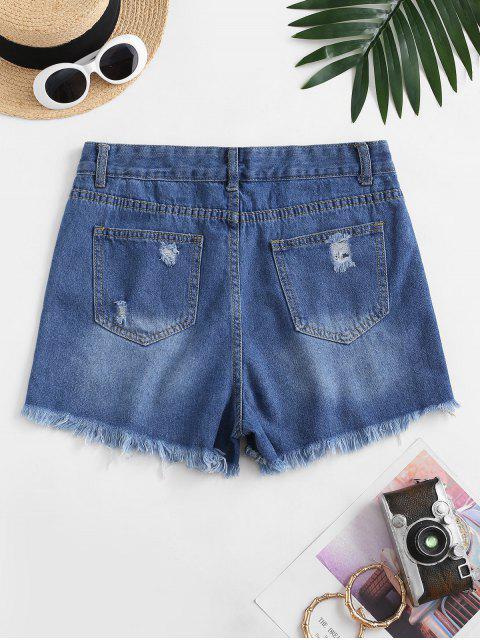 lady Frayed Hem Ripped Pocket Denim Shorts - DEEP BLUE L Mobile