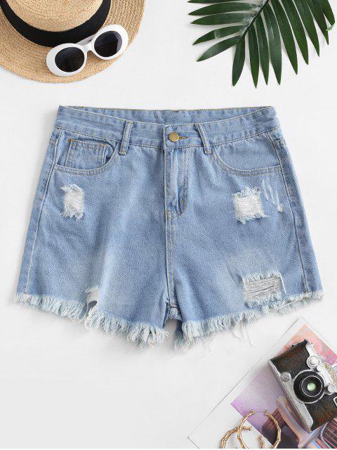 latest Frayed Hem Ripped Pocket Denim Shorts - LIGHT BLUE S Mobile