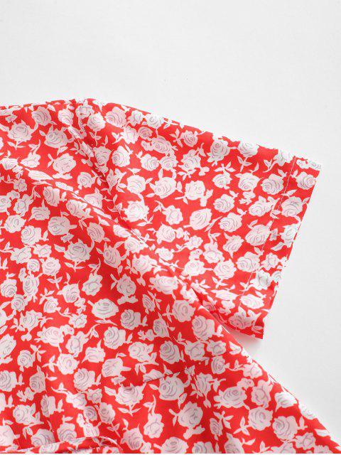 unique Ditsy Print Tie Front Crop Top - RED M Mobile
