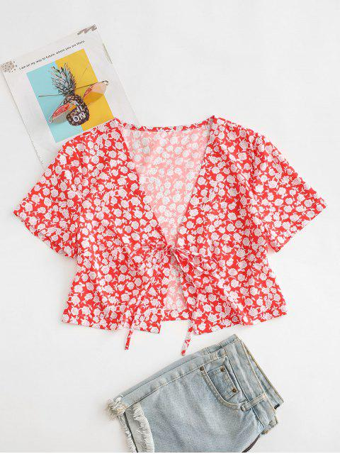best Ditsy Print Tie Front Crop Top - RED XL Mobile