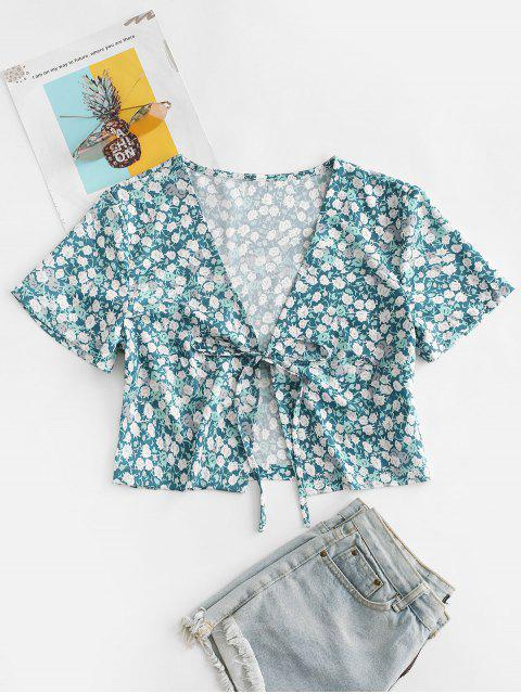 new Ditsy Print Tie Front Crop Top - GREEN M Mobile