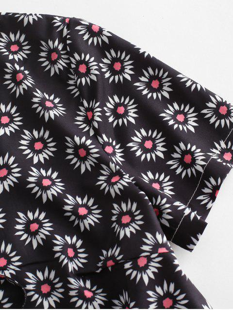 shop Ditsy Print Tie Front Crop Top - BLACK M Mobile