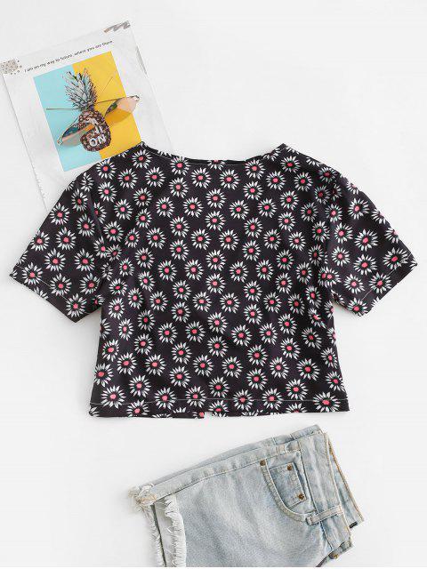 unique Ditsy Print Tie Front Crop Top - BLACK L Mobile