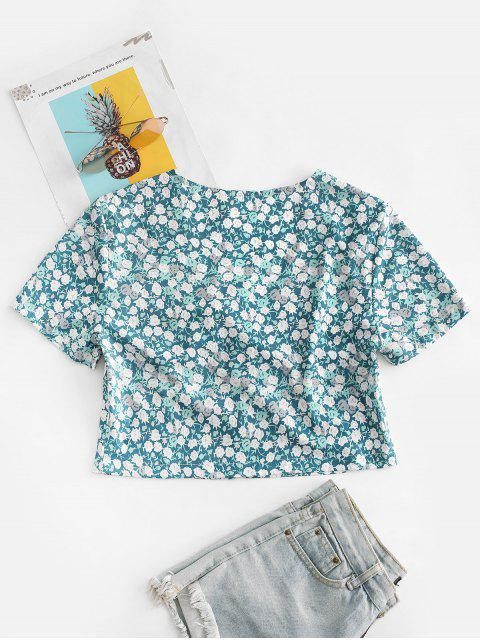 buy Ditsy Print Tie Front Crop Top - GREEN S Mobile