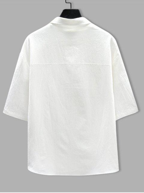 unique Letter Pattern Short Sleeves Pocket Shirt - WHITE 2XL Mobile