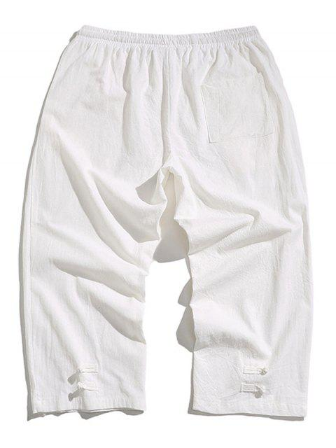 best Solid Color Drawstring Cropped Pants - WHITE 2XL Mobile