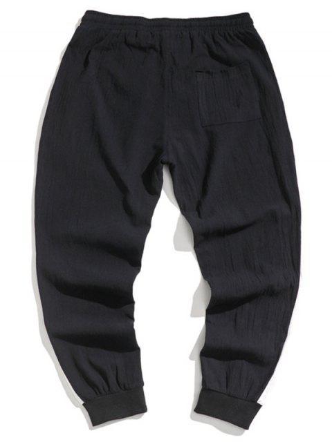 Farbe Gespleißte Elastische Taille Jogger Hose - Schwarz XS Mobile