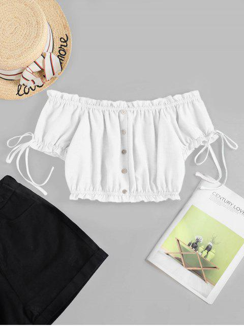 hot ZAFUL Off Shoulder Ruffle Mock Button Crop Blouse - WHITE M Mobile