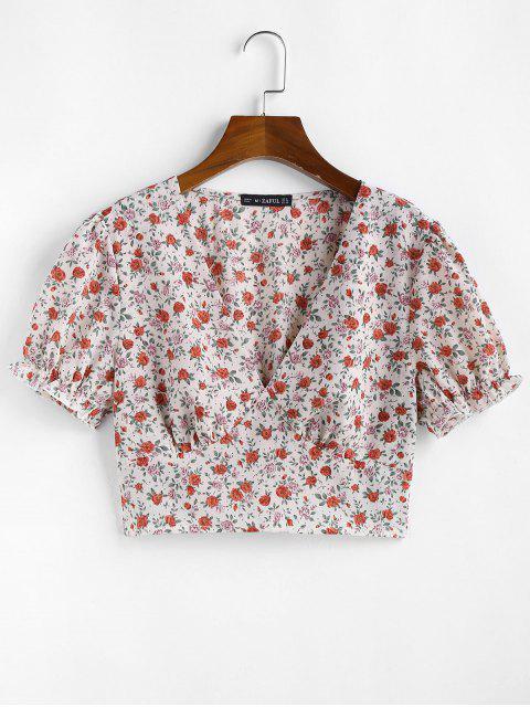 buy ZAFUL Ditsy Floral Smocked Hem Plunge Blouse - WHITE XL Mobile