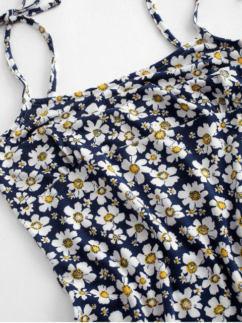Bodycon Kleid mit Blumenmuster - Tiefes Blau L Mobile