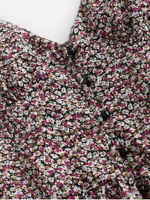 fancy Ditsy Print Flounce Button Placket Sundress - PURPLE S Mobile