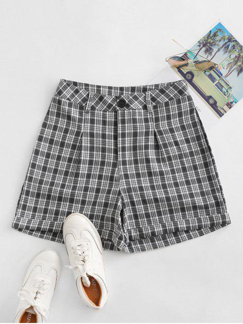 chic Cuffed Plaid Shorts - BLACK L Mobile