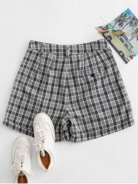 chic Cuffed Plaid Shorts - BLACK S Mobile