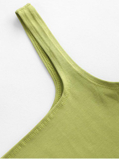 trendy Square Collar Crop Tank Top - GREEN PEAS S Mobile