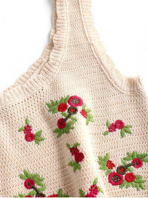 Regata Barriga de Fora com Bordado Floral Cortado - Branco Quente Um Tamanho Mobile