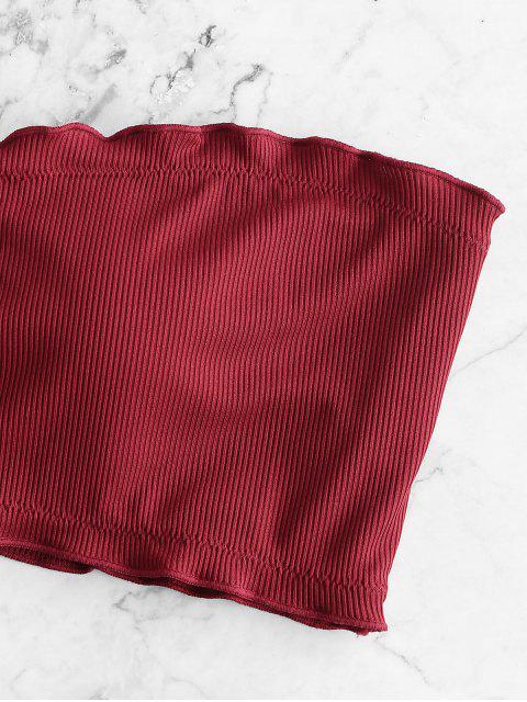 ZAFUL Costume da Bagno Bikini a Fascia a Costine con Taglio Ondulato - Vino Rosso S Mobile