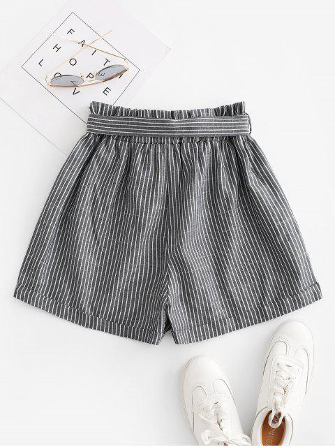 ladies Vertical Striped Cuffed Paperbag Shorts - GRAY XL Mobile