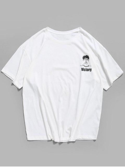 T-Shirt Basic con Grafica di Caratteri Cinesi - Bianca XL Mobile