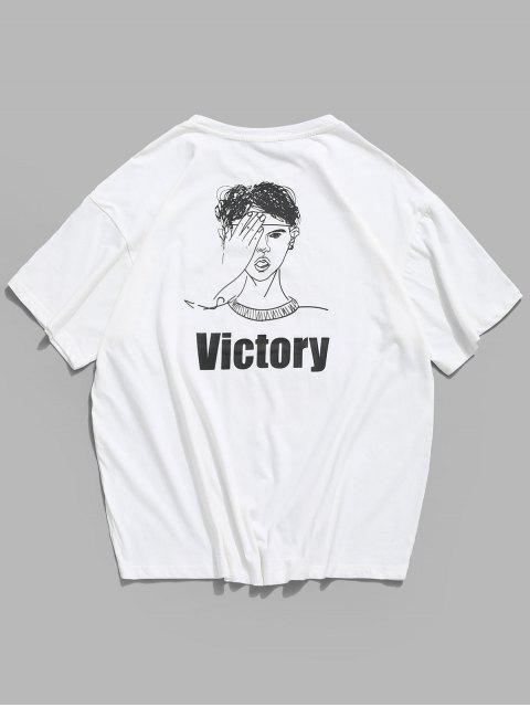 T-shirt de Emagrecimento de Impressão de Letras de Sutura de Linha à Prova de Água - Branco XL Mobile