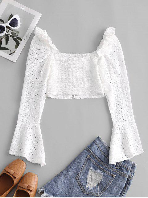 shop Broderie Anglaise Lace Up Ruffle Milkmaid Crop Blouse - WHITE L Mobile